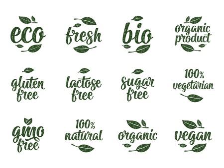 Glutine, lattosio, zucchero, OGM free, bio, eco, lettering calligrafico fresco con foglia, cubo, goccia. Illustrazione dell'annata di vettore bianco su bianco. Firma per un adesivo per alimenti biologici naturali al 100%