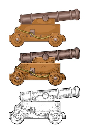 Gusseiserne Kanone auf einem Holzwagen mit Rädern. Vektorfarbe und schwarze Gravur Vintage-Illustrationen. Isoliert auf weißem Hintergrund. Für Tattoo und Poster