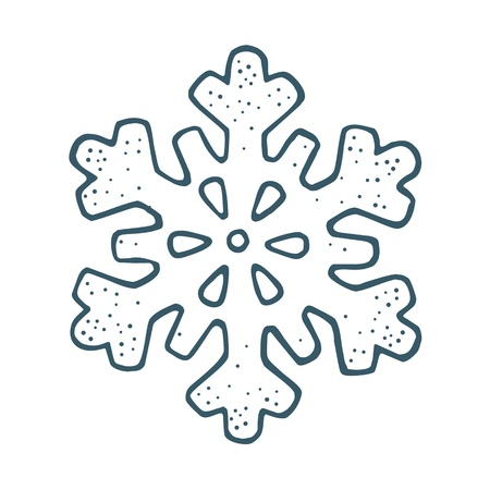 Snowflake. Vector vintage color engraving illustration. Isolated on white background.