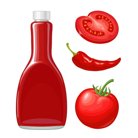 Ketchup bottle, chilli, whole and slice tomatoes. Vector flat illustration