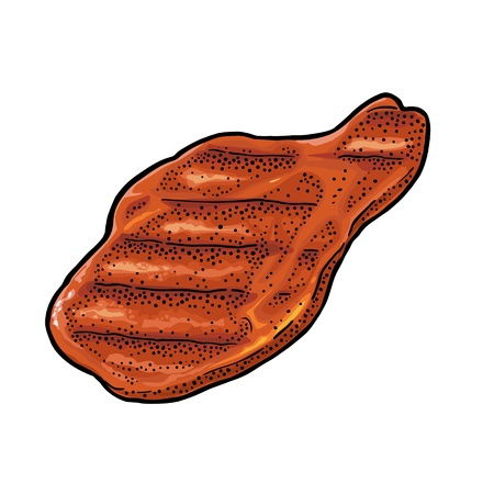 Beef grilled steak top view. Vintage color vector engraving illustration. Isolated on white background.