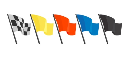 Set icons with different flags for race. Vector flat illustration isolated white background.