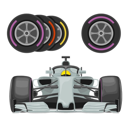Set race icons. Car and different wheel. Vector flat illustration