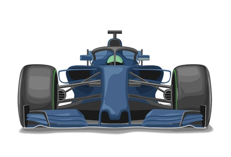 Racing blue car with protection front view. Vector flat illustration