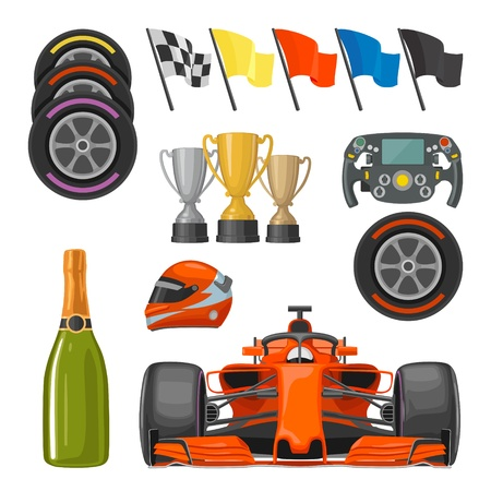 Stel race plat pictogrammen. Helm, champagne, beker, vlag