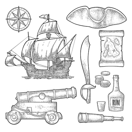 Set pirate adventure. Cannon, rum bottle, coins, saber, map, caravel, compass rose, spyglass, tricorn isolated on white background. Vector black vintage engraving Illustration
