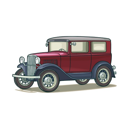 Retro car sedan. Side view. Vintage vector color flat illustration for poster, web. Isolated on white background. Hand drawn design element