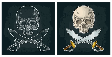 Skull and crossed pirate sabers. Vintage engraving isolated on white