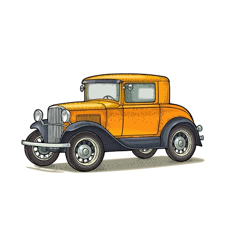 Retro car coupe. Side view. Vintage color engraving illustration for poster, web. Isolated on white background. Hand drawn design element Ilustrace