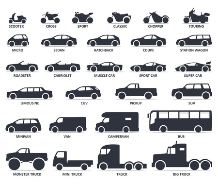 Car and Motorcycle type icons set. Title models moto and automobile 矢量图像