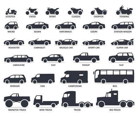 Set di icone di tipo auto e moto. Titolo modelli moto e automobile