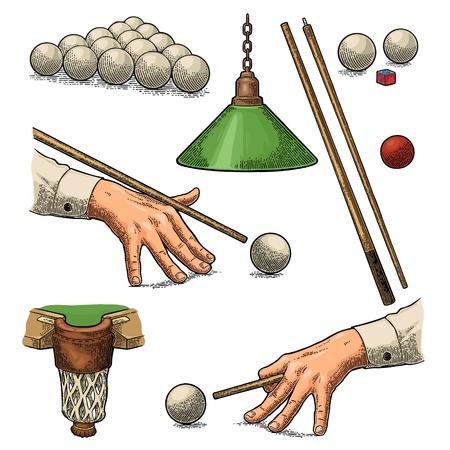Set billiard. Stick, balls, chalk, pocket and lamp.Vintage black engraving Archivio Fotografico - 112627931