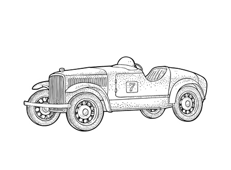 Retro car roadster. Side view. Vintage black engraving illustration for poster, web. Isolated on white background.