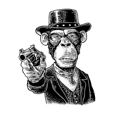 Monkey gentleman holding a revolver and dressed in a hat, suit, waistcoat. Vintage black engraving illustration for poster. Isolated on white background. Hand drawn design element for label and poster  イラスト・ベクター素材