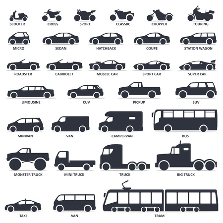 Car, motorcycle and public transport type icons set. Title models moto, automobile Stock Vector - 112751662