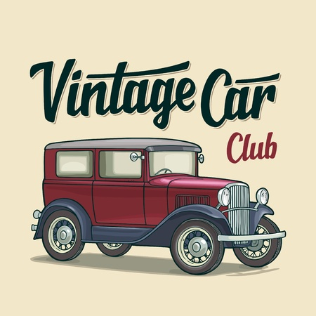 Retro sedan. Side view. Classic Car Club handwriting calligraphic lettering. Vintage vector color flat illustration for poster, web. Isolated on beige background. Hand drawn design element Illustration