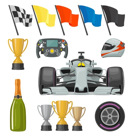 Set race flat icons. Helmet, champagne, cup, flag Illustration