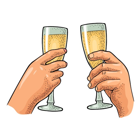 Female and male hands holding and clinking two glasses champagne. Vintage color vector engraving illustration for web, poster, invitation to party. Hand drawn design element isolated on white background.