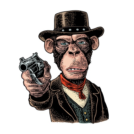 Monkey gentleman holding revolver and dressed hat, suit, waistcoat. Engraving Standard-Bild - 112751830