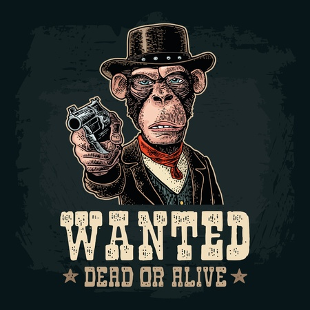 Monkey gentleman holding a revolver and dressed in a hat, suit, waistcoat. Wanted dead or alive lettering. Vintage color engraving illustration on dark background. For t-shirt or poster