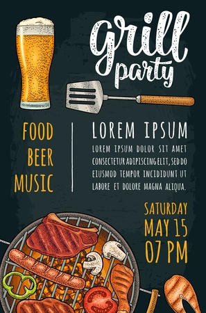 Template bbq vertical poster. Grill party calligraphic handwriting lettering. Tomato, pepper, sausage, beer glass, chicken leg, fish, steak. Color vector vintage engraving illustration on dark