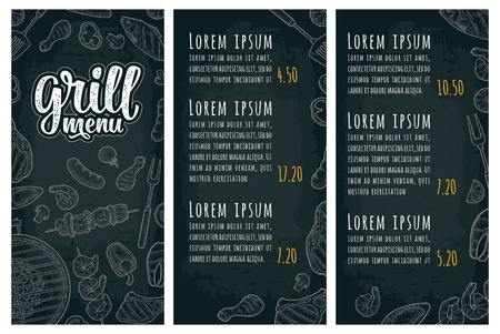 Restaurant or cafe menu BBQ with price. Grill menu handwriting lettering. Barbecue meat, fish, oyster, shrimp, tomato, pepper, kebab, sausage, chicken leg, steak. Vintage monochrome vector engraving Illustration