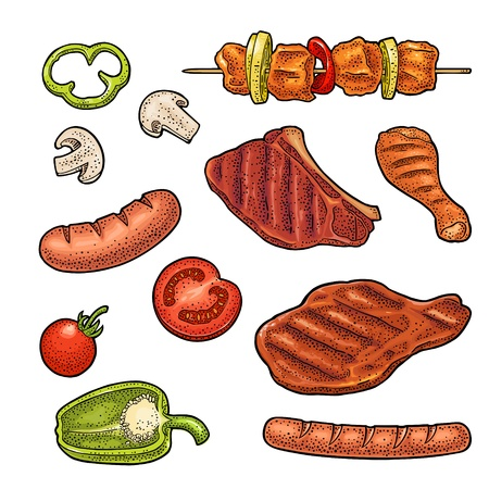 Set meat and vegetables BBQ. Mushroom, tomato, pepper, onion, kebab, sausage, chicken leg, beef steak. Vintage black and color vector engraving illustration. Isolated on white background