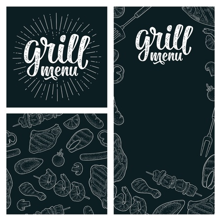 Posters and seamless pattern BBQ. Grill menu handwriting lettering. Barbecue meat, fish, mushroom, oyster, shrimp, tomato, pepper, kebab, sausage, chicken leg, steak. Vector vintage engraving on dark