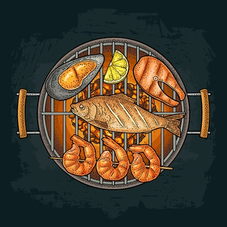 Barbecue grill with charcoal, oyster, shrimp, lemon , fish. Vintage engraving Illustration