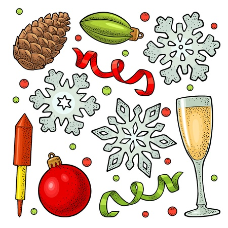 Merry Christmas and Happy New Year set. Toy, serpentine, rocket, snowflake, pine cone, champagne glass. Vector vintage color engraving illustration isolated on white