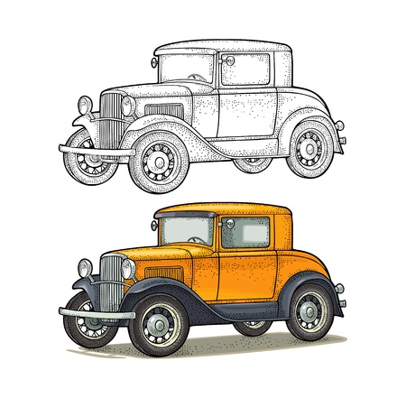 Retro car coupe. Side view. Vintage color engraving illustration for poster, web. Isolated on white background. Hand drawn design element Иллюстрация