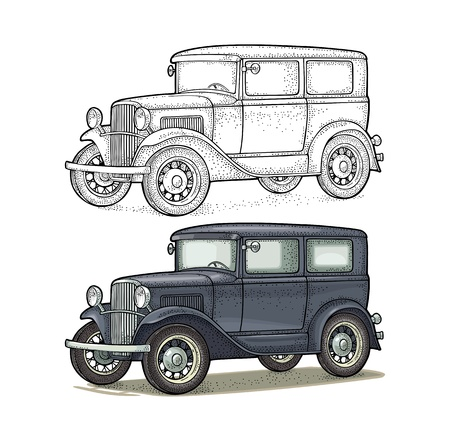 Retro car sedan. Side view. Vintage color engraving illustration for poster, web. Isolated on white background. Hand drawn design element