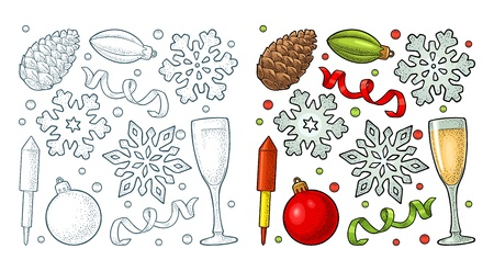 Merry Christmas and Happy New Year set. Toy, serpentine, rocket, snowflake, pine cone, champagne glass. Vector vintage color and monochrome engraving illustration isolated on white Ilustração