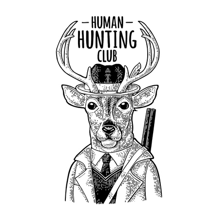 Deer hunter. Hunting club lettering. Vintage black engraving