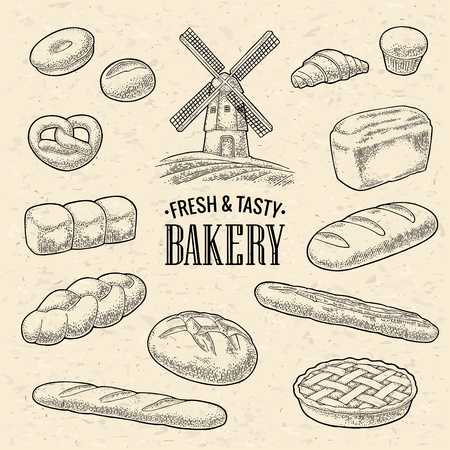 Set bread. Mill on wheat field. Vector black hand drawn vintage engraving illustration for poster, label and menu bakery shop. Isolated on the texture craft paper