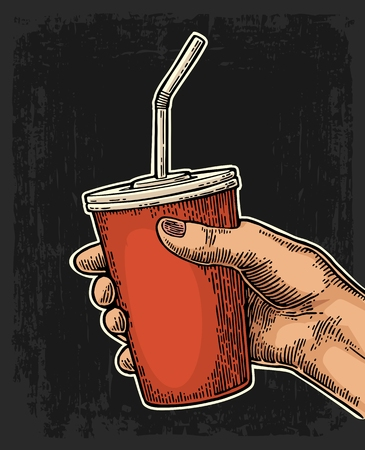 Female hand holding a disposable paper red cup cola with straws and cap. Isolated on dark background. Vector color engraving illustration for poster, menus, web, banner, icon