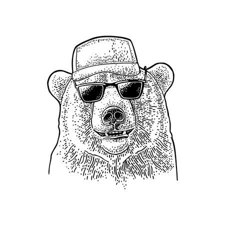 Bear dressed in a baseball cap, sunglasses. Vintage black engraving illustration for t-shirt or poster. Isolated on white background Illustration