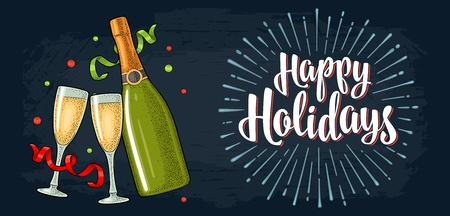 Clinking glass, champagne bottle, serpentine ribbons. Happy Holidays handwriting calligraphy lettering with salute. Vintage vector color engraving illustration on night city and sky