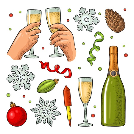 Christmas and New Year set. Toy, serpentine, rocket, snowflake, pine cone, champagne bottle. Female and male hands clinking two glasses. Vector vintage color engraving illustration isolated on white Illustration