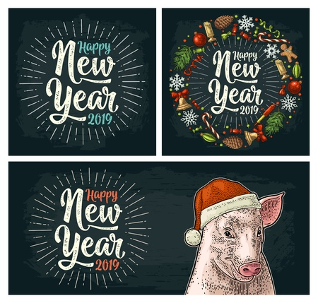 Pig head in Santa Claus hat. Happy New Year 2019 calligraphy lettering with salute. Circle shape set with candy, rocket, snowflake, pine cone, fir branch, toy. Vector color vintage engraving on dark 向量圖像