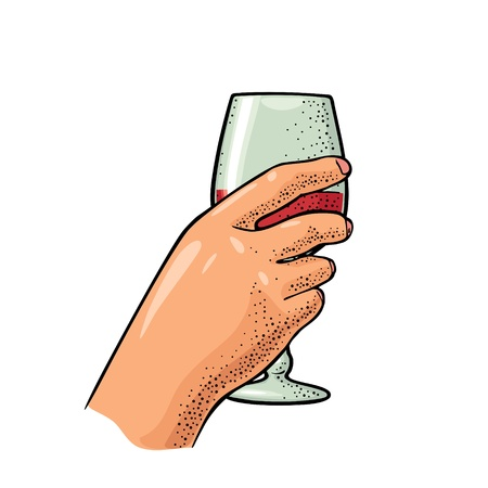 Female hand holding a glass of wine. Vintage vector engraving illustration for label, poster, invitation to a party. Isolated on white background Çizim