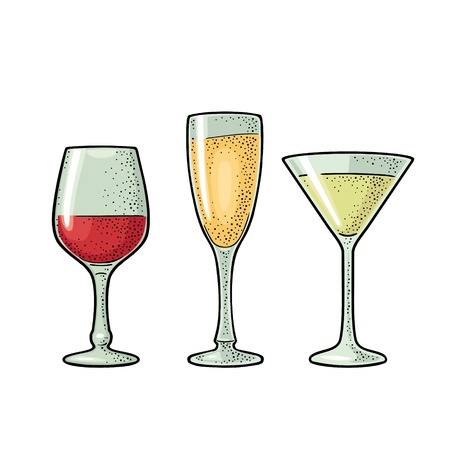 Set glass wine, champagne, cocktail. Vintage vector engraving illustration for web, poster, menu, invitation to party. Isolated on white background Çizim