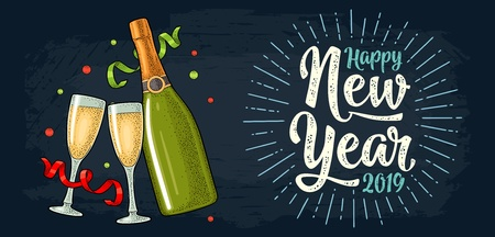 Clinking glass, champagne bottle, serpentine ribbons. Happy New Year 2019 calligraphy lettering with salute. Vintage vector color engraving illustration isolated on dark Illustration