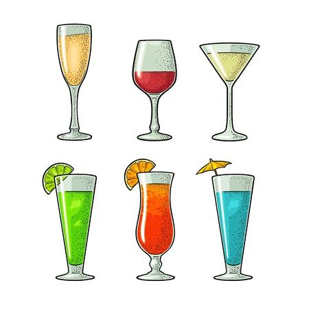 Zestaw kieliszek do wina, szampana, koktajlu. Vintage wektor Grawerowanie ilustracja dla sieci web, plakat, menu, zaproszenie na imprezę. Na białym tle