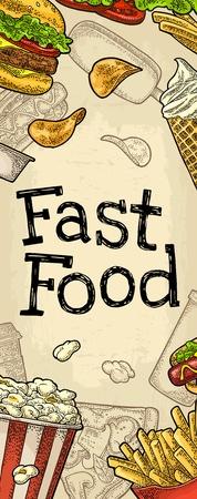 Restaurant or cafe menu Fast Food. Vintage color vector engraving illustration on old beige craft paper