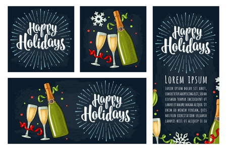 Template posters with clinking glass, champagne bottle, serpentine ribbons. Happy Holidays handwriting calligraphy lettering with salute. Vintage vector color engraving on night city and sky