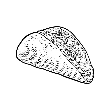Tacos - mexican traditional food. Vector black vintage engraved illustration for menu, poster, web. Isolated on white background