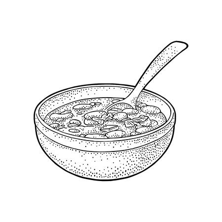 Chili con carne en un tazón con cuchara - comida tradicional mexicana. Ilustración grabada en negro vintage de vector para menú, cartel, web. Aislado sobre fondo blanco