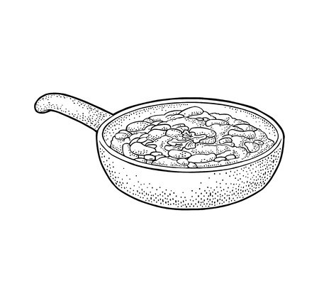 Chili con carne in pan - mexican traditional food. Vector vintage black engraved illustration for menu, poster, web. Isolated on white background