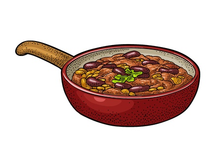 Chili con carne in pan - mexican traditional food. Vector engraving Ilustração
